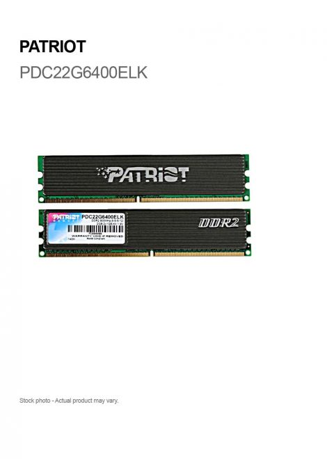Patriot 2GB (2 X 1GB) DDR2 800MHz PC2 6400 240-pin PDC22G6400ELK